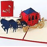 uniqueplus Kutsche Pferd Creative 3D Pop up Grußkarte Kirigami Geschenk Karten für Jahrestag, Hochzeit, Geburtstag, Paar, Muttertag, Vatertag, Thank You (rot))