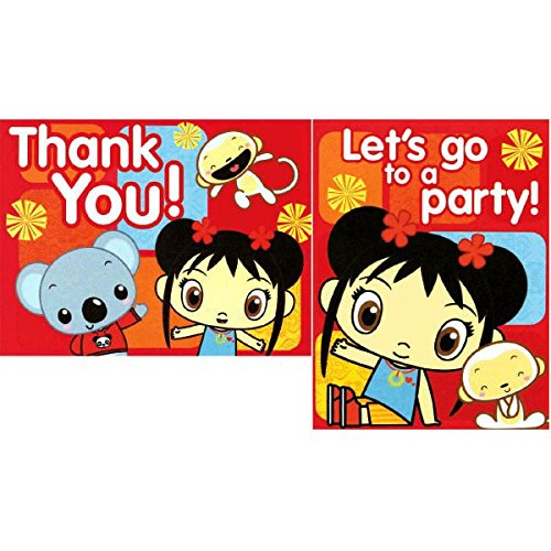 Amscan Adorable Ni Hao Kai Lan Red Birthday Party Postcard Invitations and Thank You Cards Supply (8 Pack), 6.8\