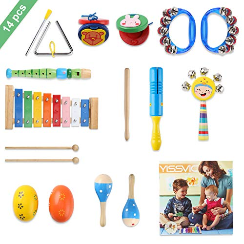 YISSVIC Juguetes de Instrumentos Musicales para Niños 14 en 1 Set Música Juguete Instrumento Educativo Bebés Regalos para los Niños
