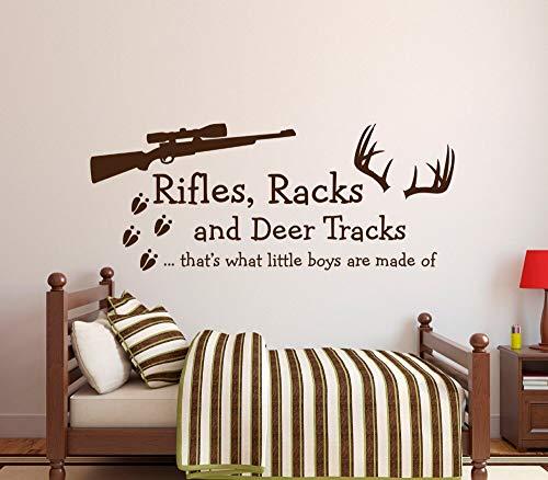 fenshop Benutzerdefinierte Farbe Boys Schlafzimmer Wandaufkleber Rifles Racks & Deer Tracks Das was kleine Jungen von Wall Decal 56x23cm gemacht sind