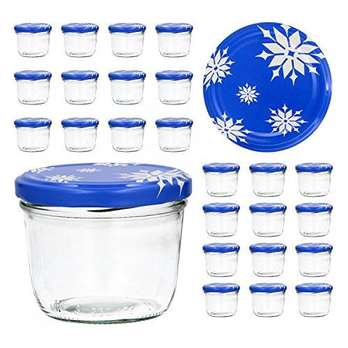 Juego de 25 tarros de conserva, 230 ml, varias tapas disponibles TO 82 - copos de nieve