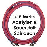 Acetylen Sauerstoff Gasschlauch Zwillingsschlauch 5 Meter - Semperit Profi Gummischlauch zum autogen schweißen oder schneiden - Semperit Profiqualität von Gase Dopp
