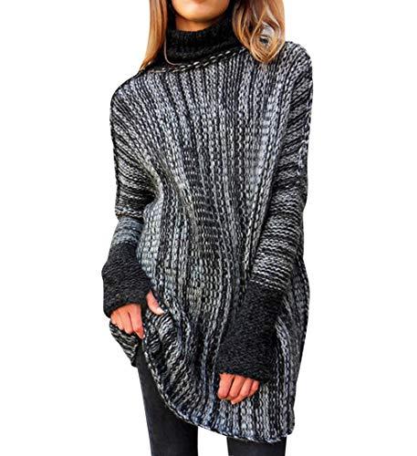 Jersey Largo Mujer Oversize Jerseys de Punto Cuello Vuelto Mujer Largos Grueso Sueter Vestido Jersey Señora Gordos Ancho Invierno Sweaters Sweater Tejido Jerséis Mujer Suéter Jerséy Sueteres Tejidos