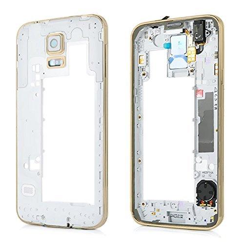 Premium✅ Mittelrahmen Gehäuse (GOLD) für Samsung Galaxy S5 G900F i9600 - Middle Bezel Frame Housing Cover - GOLD NEU Bezel Frame Cover