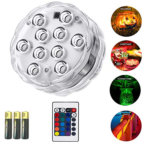 Unterwasser Licht mit Fernbedienung,Wasserdichte Unterwasser Licht,10-LED RGB 16 Farbwechsel,LED Leuchten für Vase Base,Aquarium,Teich,Party,Schwimmbad,1 Stück whirlpool zubehör, A++ Batterien enthalten