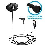 HomeSpot CarKit (KFZ) Bluetooth Transmitter mit Freisprecheinrichtung, kabellosem Audio Streaming und Siri Sprachassistent Aktivierungstaste für Autoradios mit 3.5mm Audio Klinke für Aux Eingang
