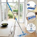 Mamum Drehen Sie den Flachmopp, Hände waschen Flachmopp Holzbodenwischer Staub Push-Mopp zu Hause Reinigungswerkzeuge (blau) zum Vergrößern