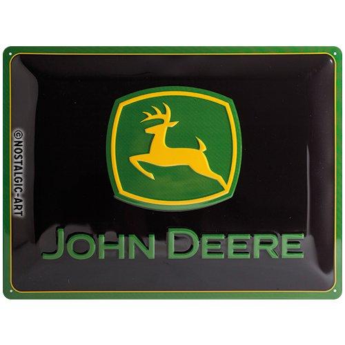 Nostalgic-Art 23115 John Deere - Logo black, Blechschild 30x40 cm (John Deere Parking)