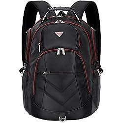Sac à dos ordinateur portable 18.4 pouces, SOCKO Sac en Nylon de voyage durable imperméable Musette Sac de montagne Cartable de randonnée Etudiant-Elève Sac à dos Ordinateur Notebook, Noir