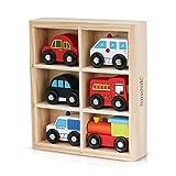 NimNik Holzspielzeug Autos Bus Motor Notfall Fahrzeuge Pädagogisches Spielzeug für Das frühe Lernen für 3 Jahre Alt