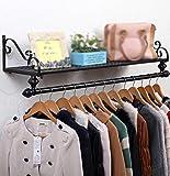 Clothes hat shelf Schwarzer Aufhänger/Europäische Garderobe aus Schmiedeeisen/pastoraler Aufhänger/Wandmontage Einfacher Wandaufhänger/Wandgestell/ Vier Größen Optional / (60/80/100/120 * 28cm)