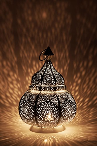 Moroccan Vintage Lantern Lights Lamp Ziva 30cm White Large | Oriental Garden Outdoor Hanging Lanterns for Candles as Decorations | Arabian Indoor Candle Tea Light Holders as Indian Party Home Decor