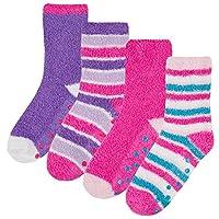 Metzuyan Kids Girls Socks Non Skid Anti Slip Grips Warm Cosy