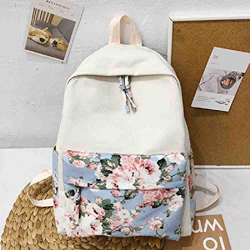 OUNBHL Pretty Style Blumenmuster Frauen Rucksack Hochwertige Leinwand Schulrucksack Mode Lässig Mädchen Daypack Rucksack -