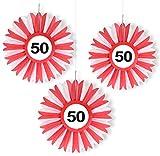 3x Honigwaben Deko * VERKEHRSSCHILD 50 * zum Geburtstag und Party | Verkehrszeichen Dekoration mit Ø 25cm | Alle lieben diese rot-weißen Honeycomb Schilder