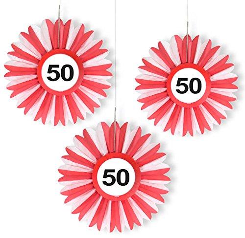 VERKEHRSSCHILD 50 * zum Geburtstag und Party | Verkehrszeichen Dekoration mit Ø 25cm | Alle lieben diese rot-weißen Honeycomb Schilder ()