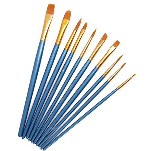 Akord Brosses de peinture multifonctionnelle en nylon, plastique, bleu ciel, lot de 10