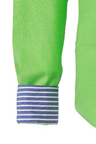 Bügelleichte Gepunktete Damenbluse Langarmbluse Gr. XS-XXL viele Farben green/blue white striped