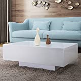 UEnjoy White High Gloss Coffee Tables For Living Room Furniture