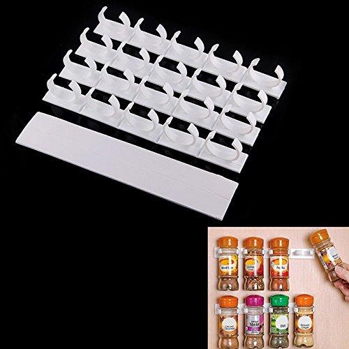 Anqeeso 4Sets 20racks Küche Clip Streifen Spice Greifer Jar Rack Aufbewahrung Halter für Wand Schrank Tür Gewürze (Wand-spice-rack-schrank)