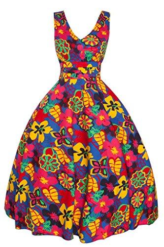 Femmes Années 1950 Retro Vintage Inspiré Funky Floral Pin Up Swing Robe Soirée Jaune