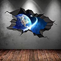 SPACE PLANETS UNIVERSE GALAXY WORLD CRACKED 3D - WALL ART STICKER BOYS DECAL MURAL NEW8