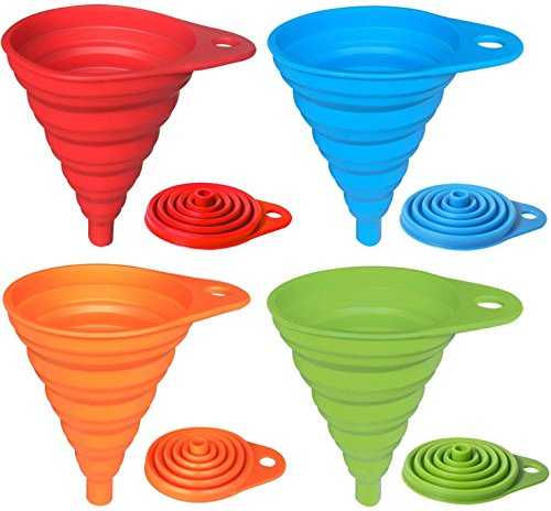 H.Yue 4 Pack Silicone Collapsible Funnel, Flexible/Foldable/Kitchen Funnel for Liquid Transfer 100% Food Grade Silicone FDA Approved Silicone Small Funnel (Red, Blue, Green, Orange) Red Funnel