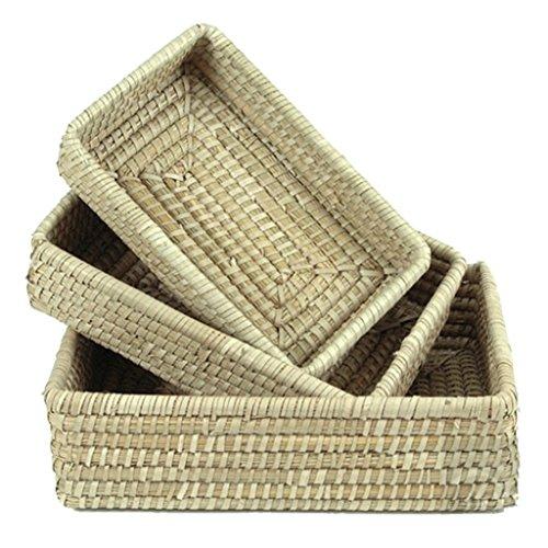 Set FLECHTKOERBE KAISAGRAS RECHTECKIG - Brot Obst Regal Korb - Handarbeit - FAIR Trade