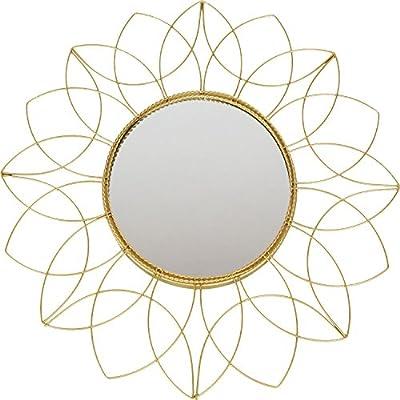 Hochwertiger Exclusiver Wandspiegel Rundspiegel Spiegel Dekospiegel Sonne aus Metall in Gold Ø50cm
