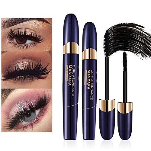 4D Mascara,Fiber Eyelash Mascara imperméable à l'eau de fibre de soie,Fiber De Soie Cils...