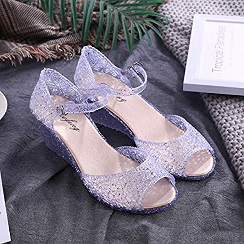Mid-Heeled Shoes with a Word Buckle Bag with Roman Fashion Thick with wild Fish Mouth Sandals Women's high Heels 1212 Flash Silver 38 (small one Yard) Jewel Strap Sandal