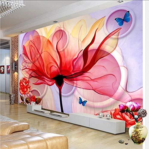 Gwgdjk Heißeste Blume Des Mode-Innen3D Ers Personifizierte Kundenspezifische Moderne Rote Rauch-Kreise Abstraktes Kunst-Hotel, Das Wandgemälde Speist-400X280Cm (160 * 112 Inch)
