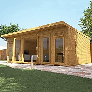 X 4m pool house wooden log cabin garden room by for Garden room 7m x 5m