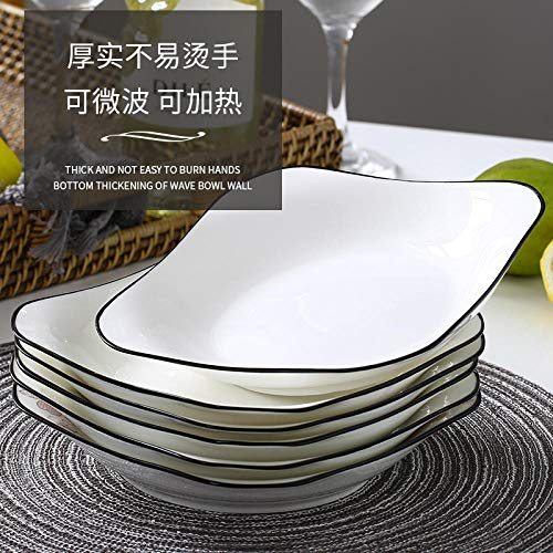 fuweizeng Dishes Service Porcelain Plate Home Ceramic Dish Simple White Thickening Deep Plate Square 6 Bowl 4 Square Plate Deep Square Bowl