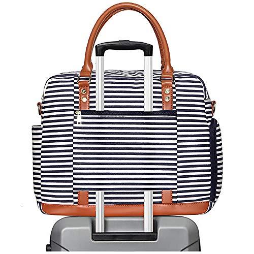 Groß Reisetasche Damen, Segeltuch Sporttasche Handgepäck Seesack (Blaue Streifen)