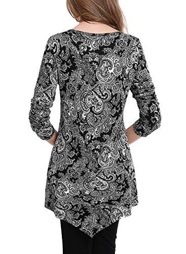 BAISHENGGT Damen Tie-Dye Langarmshirt Asymmetrisch Hem Tunika Stretch Longshirts Schwarz-Blumen