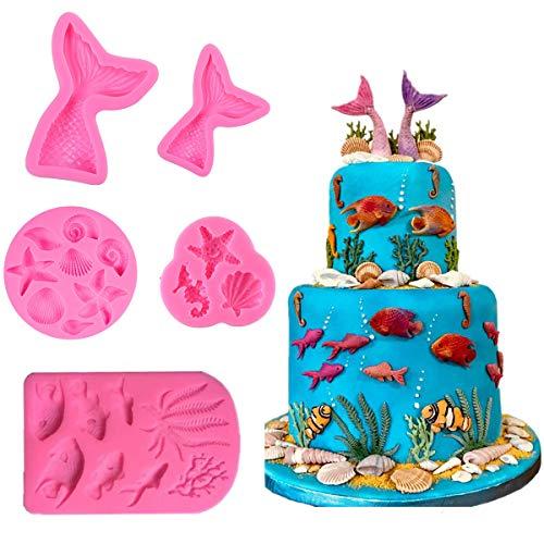 5 Stück Meerjungfrauen-Motiven Silikon Fondant Kuchen Formen für Kuchen Cupcake Dekoration Meerjungfrau Schwanz Muschel Seepferdchen Süßigkeiten Schokolade Backformen