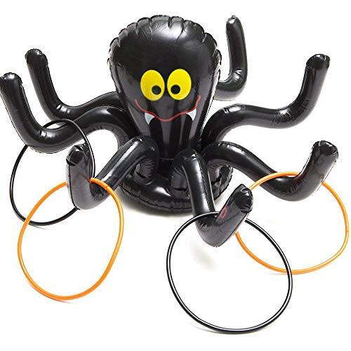 DOXMAL Aufblasbare Ringwurf Spiele Spinne Halloween Dekoration Party Game Urlaub Spielzeug Geburtstag Karneval Spiele Party Supplies mit 4 Ringen für Kind