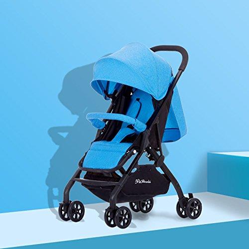 AZSUT - Cochecito de bebé, Carrito de bebé, súper portátil, Plegable, Color Azul Bandera