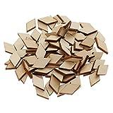 Homyl Bemalbar Karo Holz Scheiben unlackiert natürliche Holzscheiben Verzierung Hochzeit Handwerk Dekoration Scrapbooking - 100pcs 20x10mm