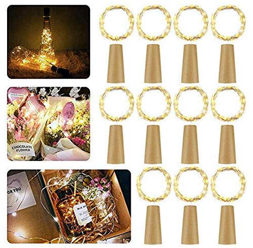 ��11 Stück】20 LEDs 2M Kupferdraht Lichterkette Weinflasche Lichter mit Kork,LED Lichterketten Stimmungslichter Flasche DIY Deko für Party Weihnachten, Hochzeit oder Stimmung Lichter ()
