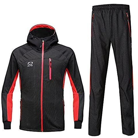 Jacket manches complet Manteau et pantalon d'hiver Cyclisme complet Zipper Coupe-vent Red Fly16 L