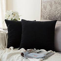 MIULEE Pack de 2, Terciopelo Suave Juego de Mesa de Manta de decoración Cuadrado Fundas de Almohada Funda de cojín para sofá Dormitorio Coche 16 * 16 Pulgada 40 * 40 cm Negro