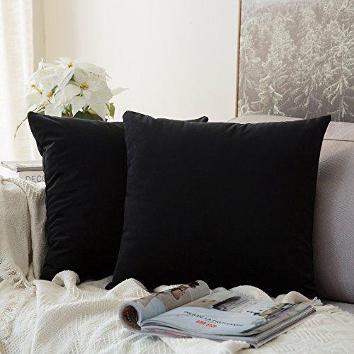 Miulee confezione da 2 federe in velluto copricuscini decorativi fodere quadrate per cuscino per divano camera da letto casa auto 40x40cm nero