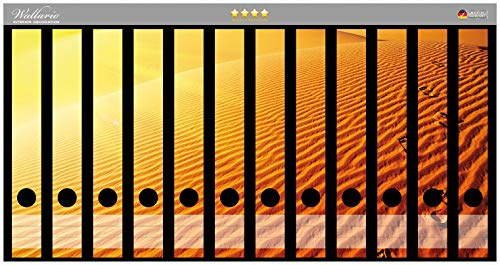 Wallario Ordnerrücken Sticker Fußspuren im Sand - Sanddüne in der Wüste in Premiumqualität - Größe 12 x 3,5 x 30 cm, passend für 12 schmale Ordnerrücken