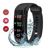 HDTOSNER Fitness Tracker, Wasserdicht IP68 Smartwatch mit Pulsmesser & Blutdrucküberwachung Aktivitätstracker Fitnessarmband für Android und iOS (Schwarz)