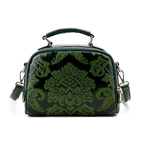 Meoaeo Single Schulter Obliquer Querschnitt Tasche Fashion Handtasche. Die Neuen Nationalen Stil Wind Blume Blau green