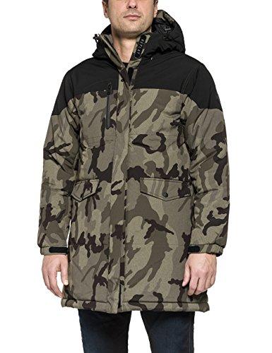Replay Men's Men's Khaki-Black Hooded Jacket In Size L Green