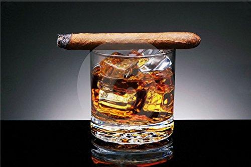Startonight Glasbild Whisky und Zigarre, Bild auf Acrylglas Muster Modern Dekoration Fertig zum Aufhängen 60 x 90 cm Seine Junge Zigarren