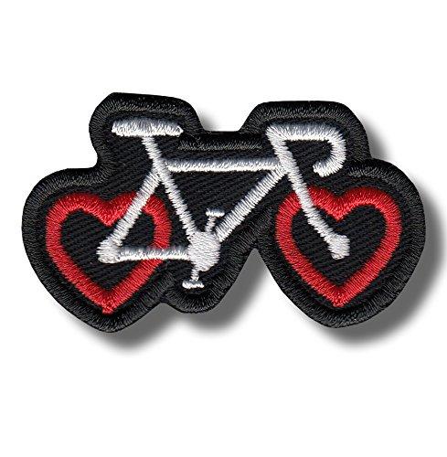 Heart bike - Bestickter Aufnäher, patch 6x3 cm Jacke Patch-bike